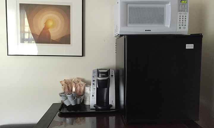 minifridge, coffee maker, microwave